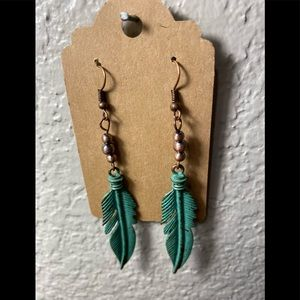 Turquoise Metal Feather Earrings, Copper Findings